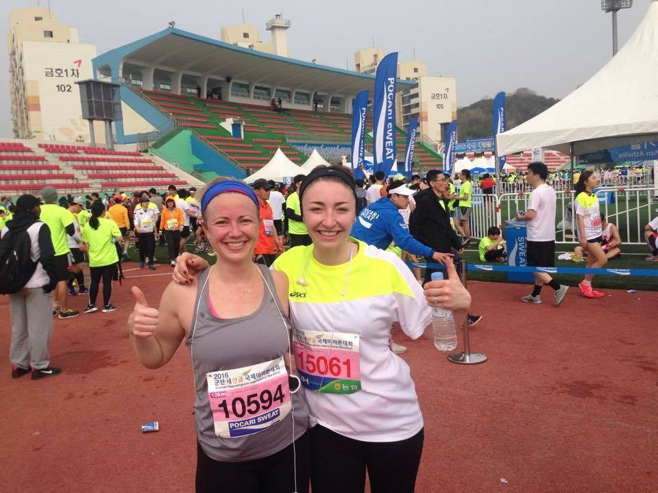 Our American friend Mel and Rachel right after completely the 10km race!