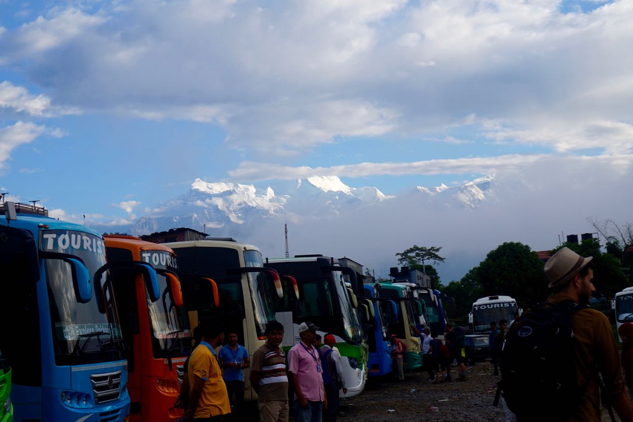 The view of Annapurna Mountain Range from the Pokhara Tourist Bus Station