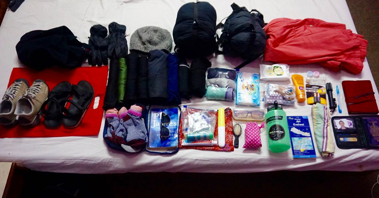 Everything I brought on the Trek