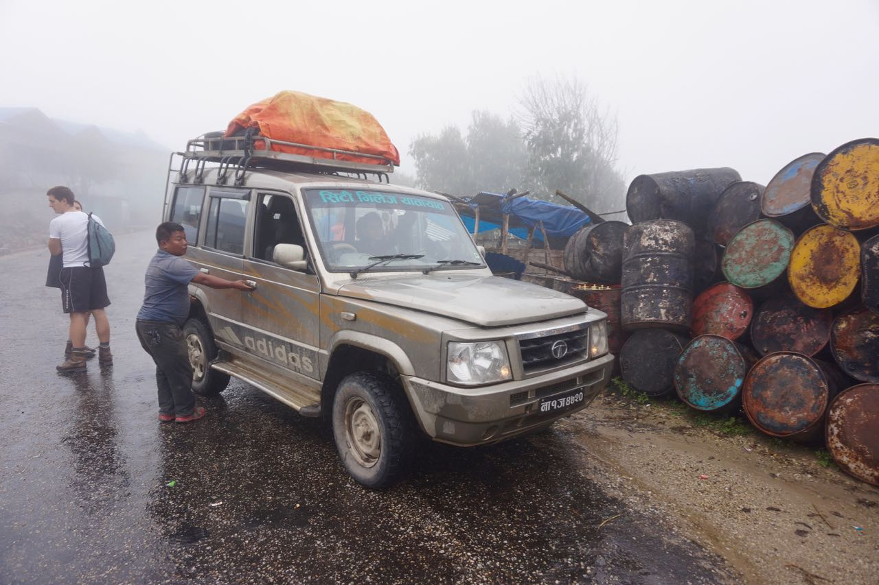 The jeep that we squished 11 people into including our skilled Nepali driver