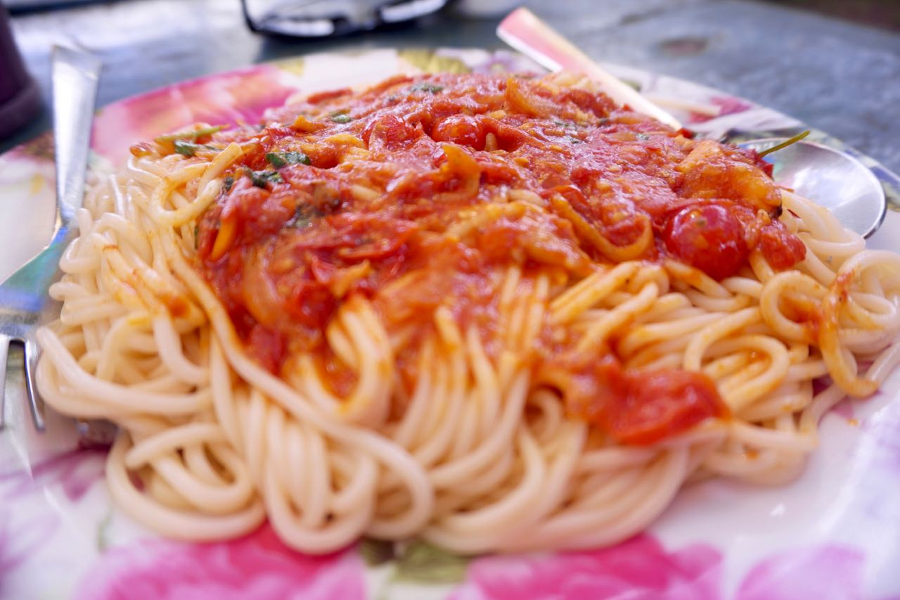 Jonny's spaghetti made with fresh vegetables picked from the garden