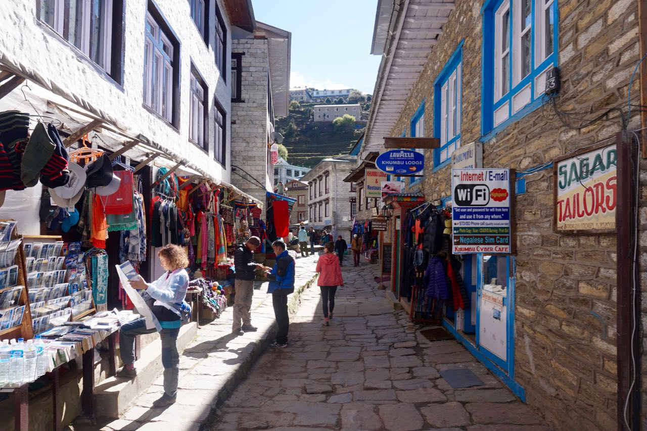 Walking through the town of Namche, where you can find jut about anything.