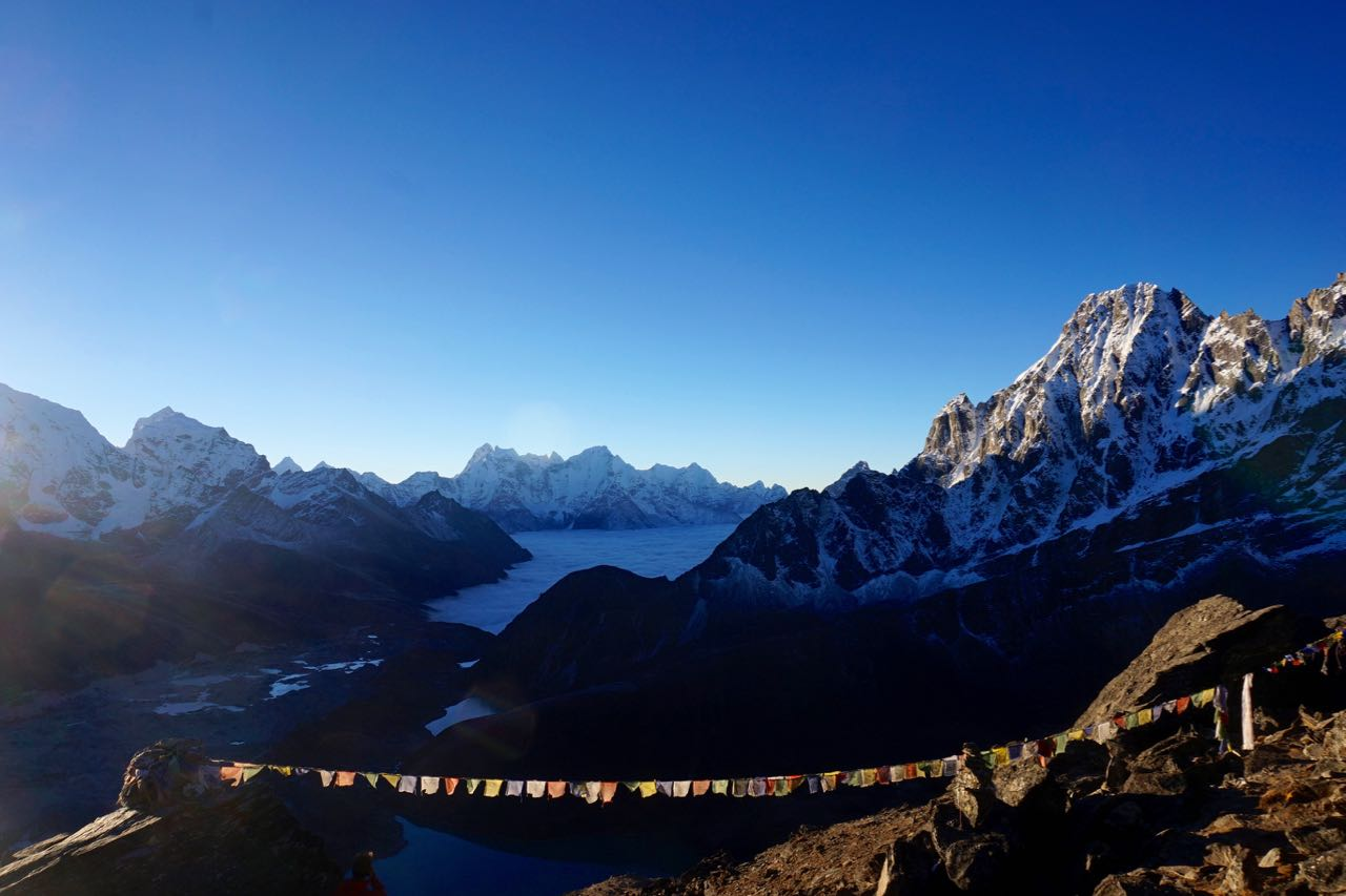 The view from Gokyo Ri towards the 1st and 2nd lake