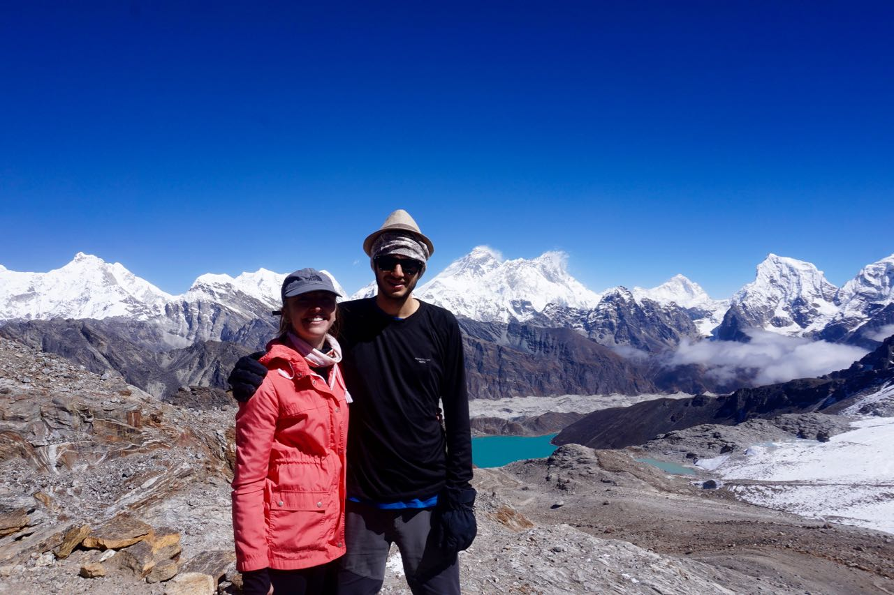 Standing at the top of Renjo La with the 3rd lake, Gokyo, and Everest in View