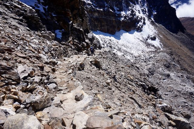 The steep and rocky stairs heading down from Renjo La Pass