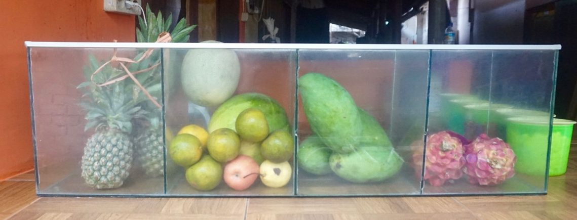 Selection of fruits available at a local warung (restaurant) in Gili Trawangan, Indonesia