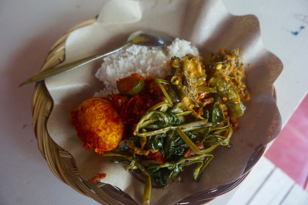 This nasi campur in Gili Trawangan had curried vegetables, egg, rice and curried chicken. Very fast, and cheap! Only $1.50 CAD for this meal :)