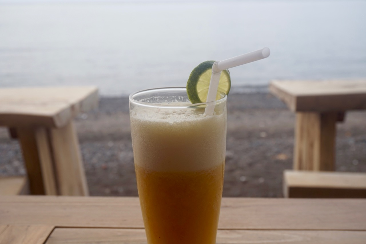 Pineapple juice right on the beach in Amed, Bali, Indonesia