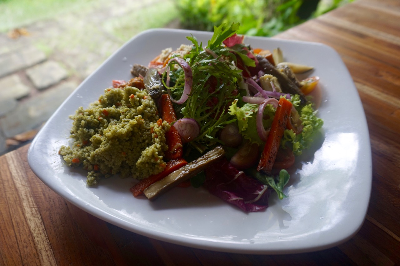 Roasted pumpkin and pesto couscous salad at Maha restaurant in Ubud, Bali
