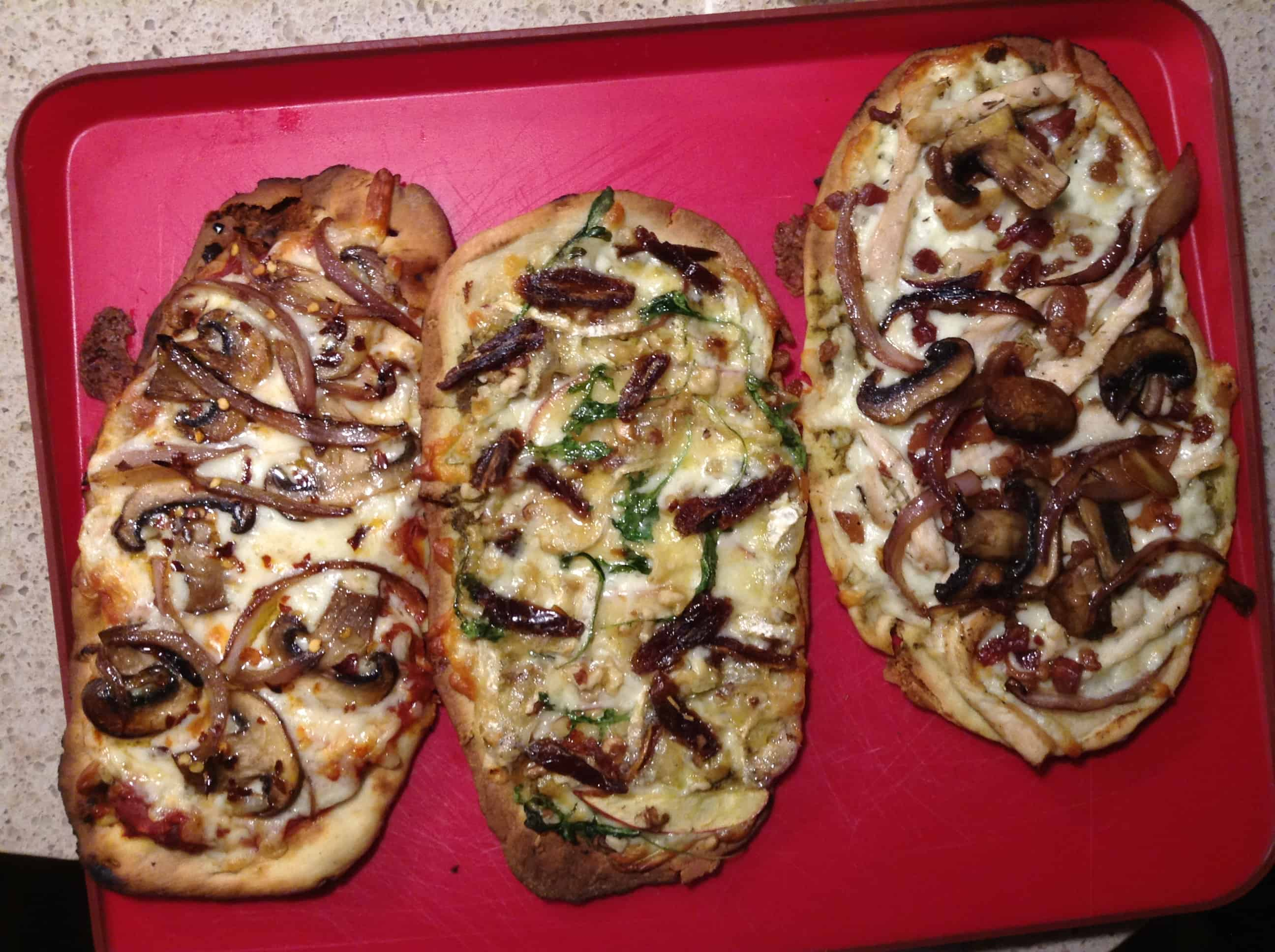 (L) spicy mushroom, onion, garlic (C) apple, walnut, brie cheese, arugula, dates (R) bacon, chicken, mushroom, onion