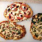 (L) chicken, bacon, arugula (T) feta, tomato, olive, onion (R) chicken, spinach, artichoke