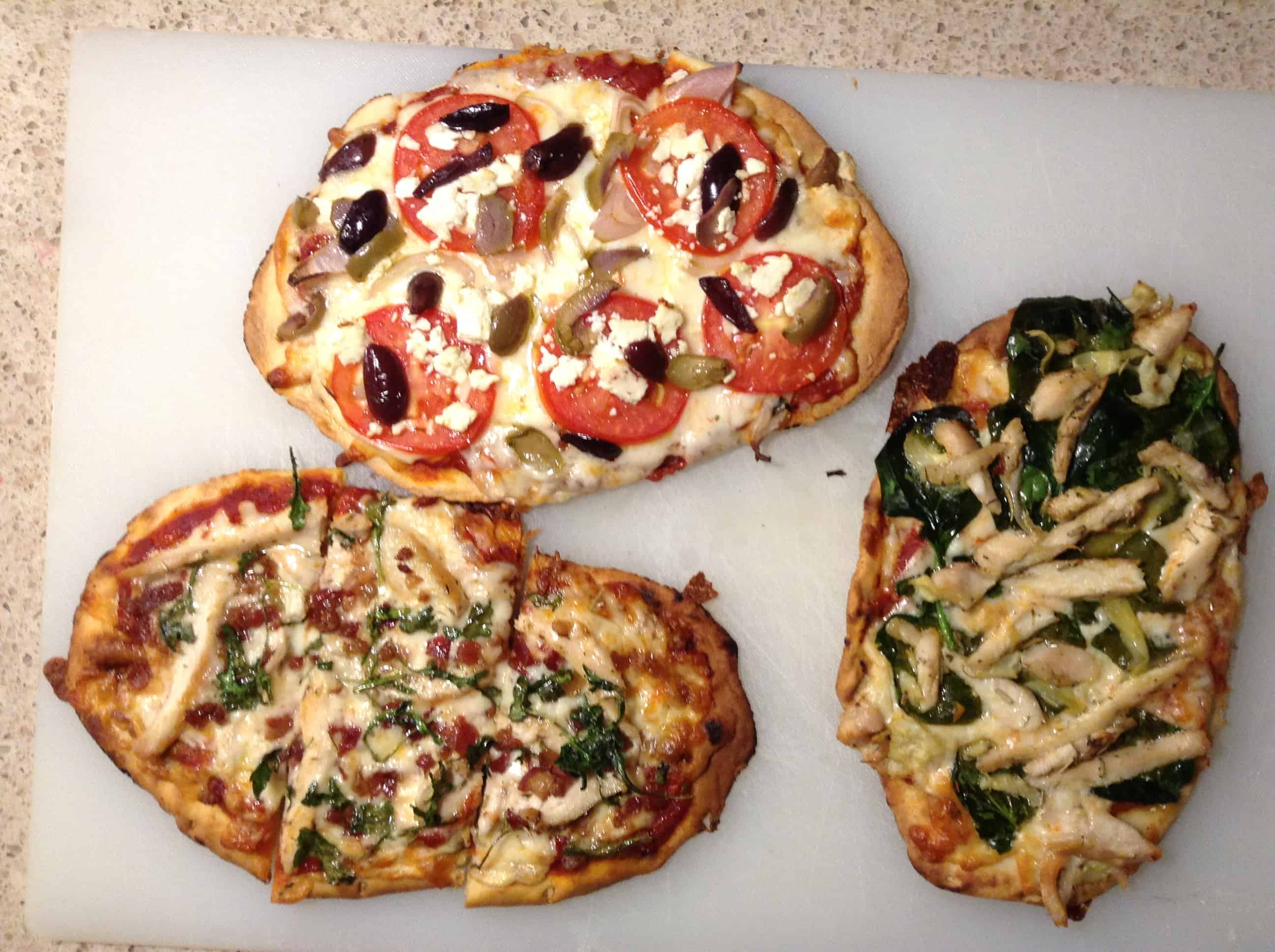 (L) chicken, bacon, arugula (T) feta, tomato, olive, onion (R) chicken, spinach, artichoke